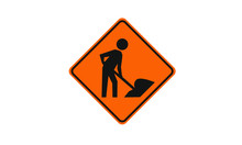 Men Working Warning Sign Ahead