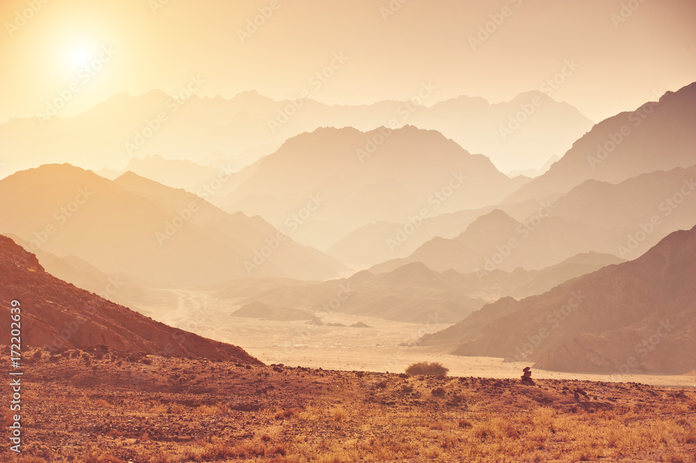 Fototapeta Valley in the Sinai desert with mountains and sun