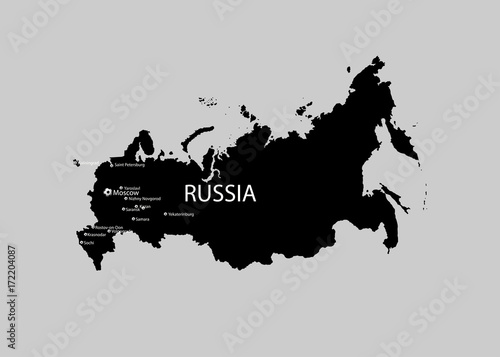 Fotografie, Tablou eps 10 vector Russia map isolated on gray