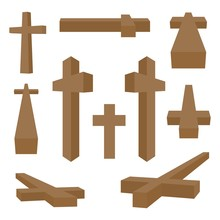 Set Of Brown Wooden Christian Crosses In Different Positions And Views On A White Background