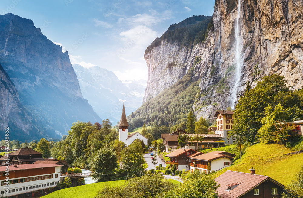 Fototapety, obrazy: Majestic view of alpine village. Swiss alps, Lauterbrunnen valley, Staubbach waterfall, Europe.