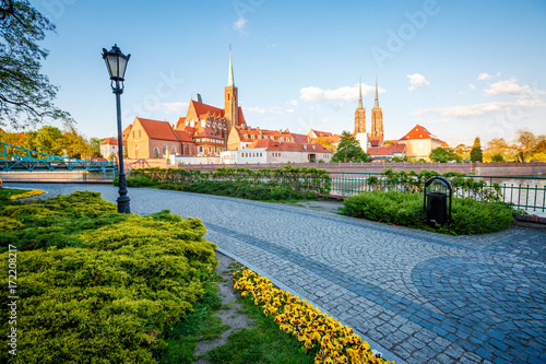 fototapeta na ścianę Ancient city Wroclaw on a sunny day. Location Cathedral of St. John the Baptist, Poland, Europe.