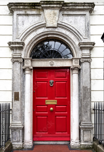 Stampa su Tela  Irland - Dublin - bunte Tür am Merrion Square Park