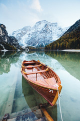 Fototapeta Góry Great alpine lake Braies. Location place Dolomiti, national park Fanes-Sennes-Braies, Italy.