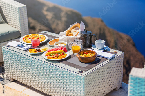Aluminium Prints Picnic Fresh Breakfast on the sea background