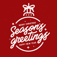 Season Greetings Typography Composition. Vector Vintage Illustration.