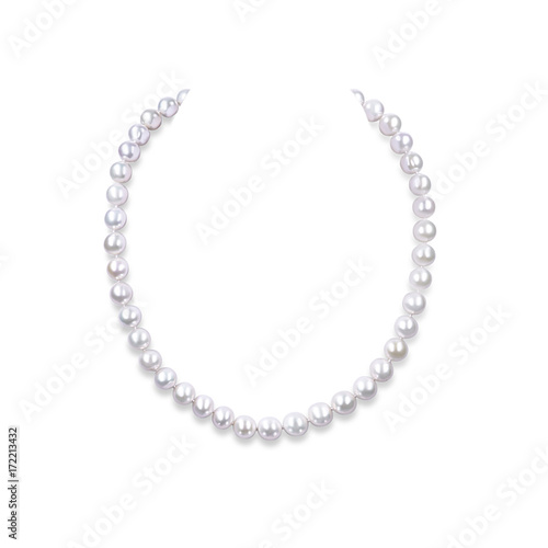 String of pearls on a white background.