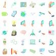 Communication icons set, cartoon style