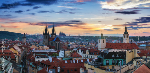 Poster Prague Aerial view over Church of Our Lady before Tyn, Old Town and Prague Castle at sunset in Prague, Czech Republic