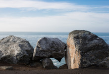 Rocks Along The Coast With A R...
