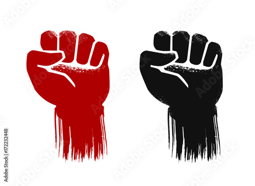 Raised Fist Grunge Force Strength Power Symbol Vector