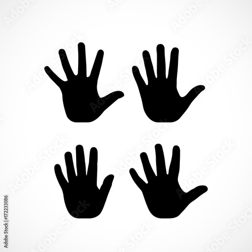 Human palm hand vector silhouette Wall mural