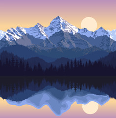 Panel Szklany Góry Vector illustration - lake in mountains