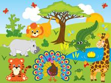 Vector Cartoon Safari Animals....
