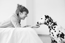 Black And White: Blonde Girl Playing With A Dalmatian Dog