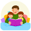 Young father reading a book to children in bed