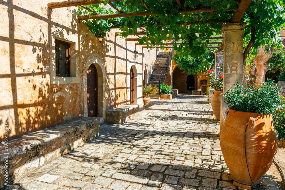 Fototapety, obrazy: The courtyard of Arkadi Monastery on Crete island, Greece
