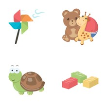 A Toy Propeller, A Teddy Bear With A Giraffe And A Colorful Ball, A Toy Turtle, A Lego, A Designer For Children. Toys Set Collection Icons In Cartoon Style Vector Symbol Stock Illustration Web.