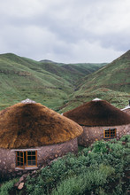 Rural Stone And Thatch Huts In...