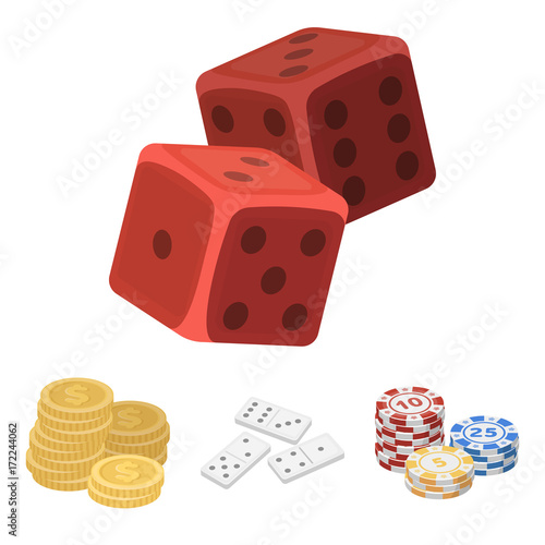 Domino bones, stack of chips, a pile of mont, playing blocks плакат