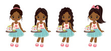 Vector Cute Little African American Girls With Tray, Tea Cups And Cupcakes