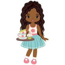 Vector Cute Little African American Girl With Tray, Tea Cups And Cupcakes