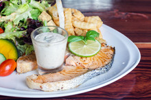 Fish Steak, Grilled Salmon And...