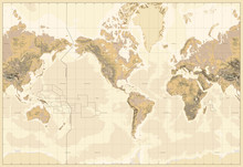 Vintage Physical World Map-America Centered-Colors Of Brown. No Text