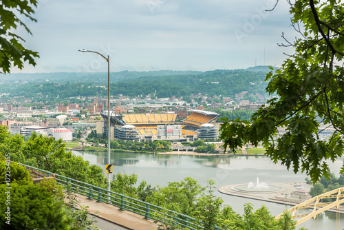 View of Heinz field in with Allegheny river in Pittsburgh, USA Wallpaper Mural