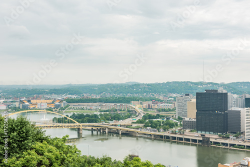 Cityscape or skyline view of Allegheny and Ohio rivers and Heinz field with brid Poster