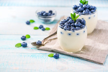 Healthy Breakfast Of Yogurt And  Blueberries
