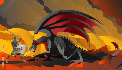 Plakat bohater rycerz walczący z czarnym smokiem w ogniu