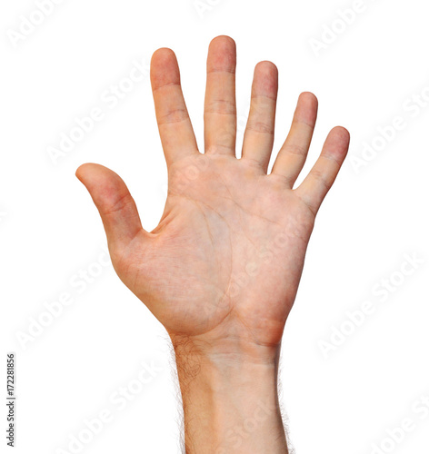 Photo Genetic mutation concept of a six finger human hand due to an extra appendage