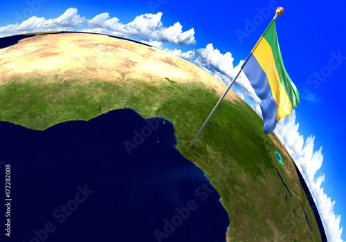 Fotografie, Obraz  Gabon, national flag marking the country location on world map
