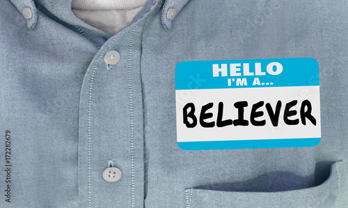 Stampa su Tela Believer Name Tag Shirt Faith Religion God 3d Illustration
