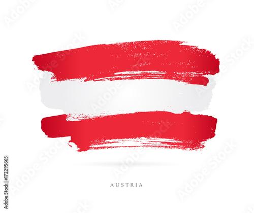 Fotografie, Obraz  Flag of Austria. Brush strokes