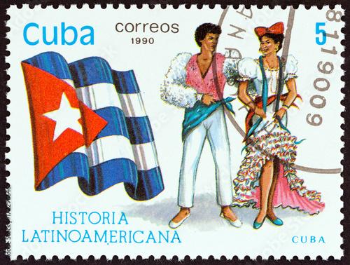 Fotografia  Flag and Traditional Costumes of Cuba (Cuba 1990)