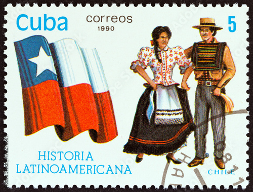 Tela  Flag and Traditional Costumes of Chile (Cuba 1990)