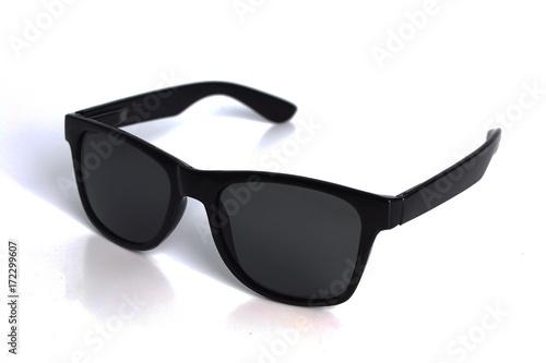 beautiful luxury white sunglasses isolated on white background