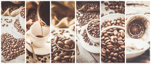 Collage Many Pictures Of Coffe...