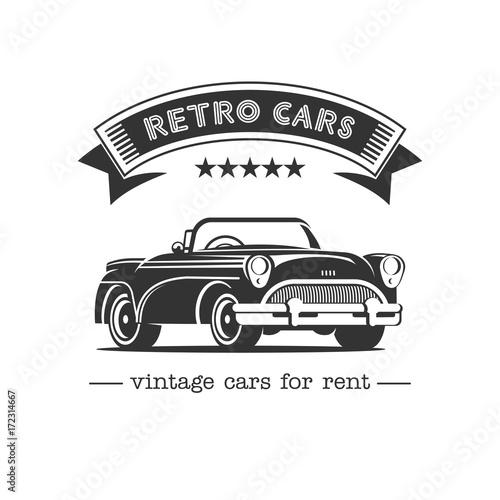 Staromodny samochód. Sprzedaż, wynajem samochodów zabytkowych. Logo wektor monochromatyczne. Samochody retro do wynajęcia.