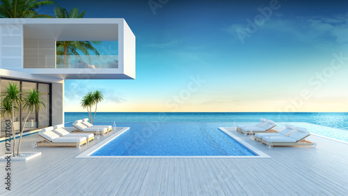 Fotografiet Beach lounge, sun loungers on Sunbathing deck and private swimming pool with  pa