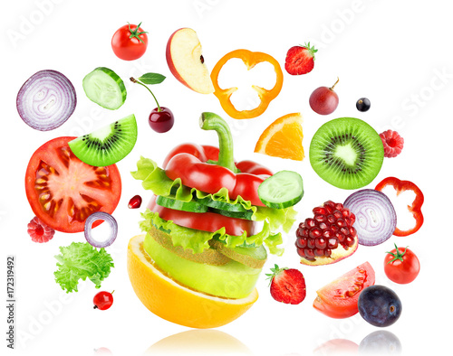 Poster Fruit Fresh mixed fruits and vegetables falling