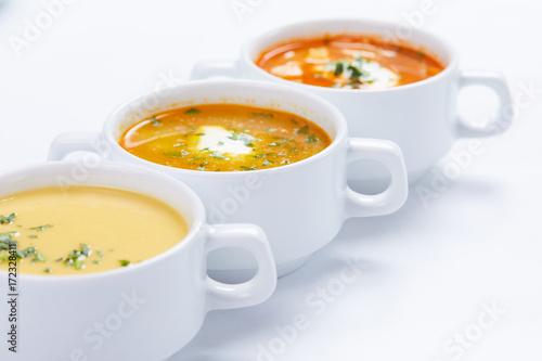 Fototapeta soup in the white cups obraz