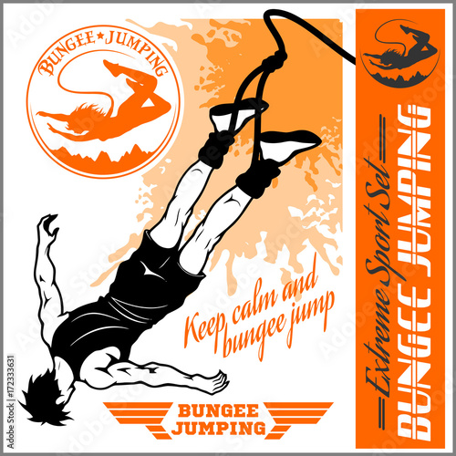 Bungee jumping. Vector set - badges and monochrome illustration. Poster Mural XXL