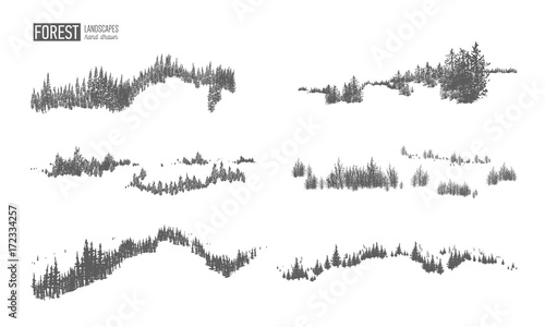 Fotografija  Collection of evergreen forest landscapes with silhouettes of coniferous trees growing on hills hand drawn in black and white colors