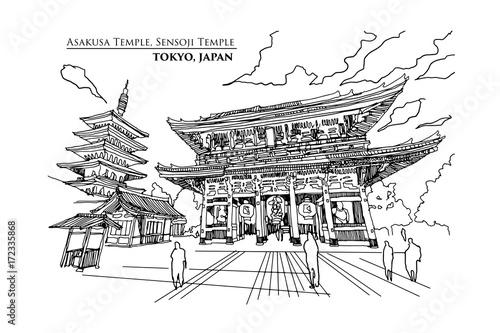 Perspective of Asakusa Temple or Sensoji Temple in TOKYO, JAPAN, Vector illustration sketch design Canvas Print