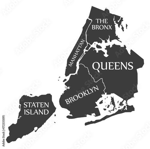 Fototapeta New York City Map USA labelled black illustration obraz