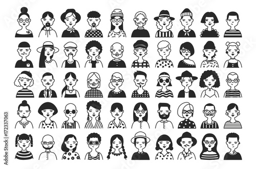 Large Collection Of Male And Female Cartoon Characters Or Avatars
