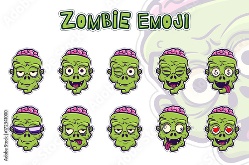 Zombie emoji symbols set Canvas Print